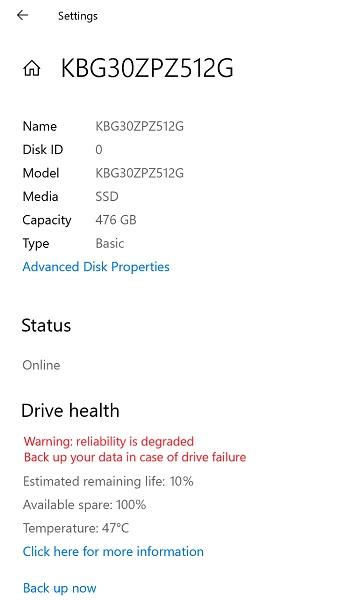 Estado de la unidad de Windows 10