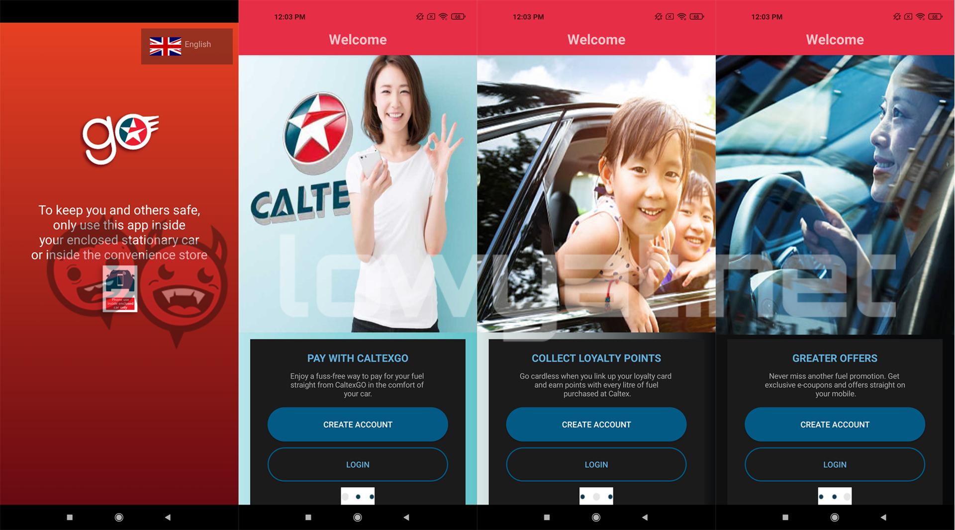 Aplicación de reabastecimiento de combustible remoto sin efectivo Caltex CaltexGO Malasia