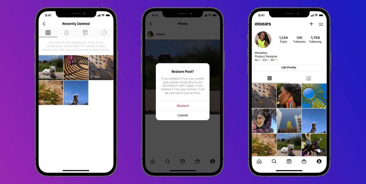 Instagram función recientemente eliminada restaurar contenido
