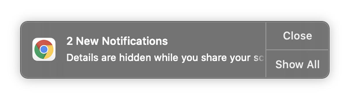 Google Chrome Silenciar Ocultar notificaciones Actualizar Compartir pantalla