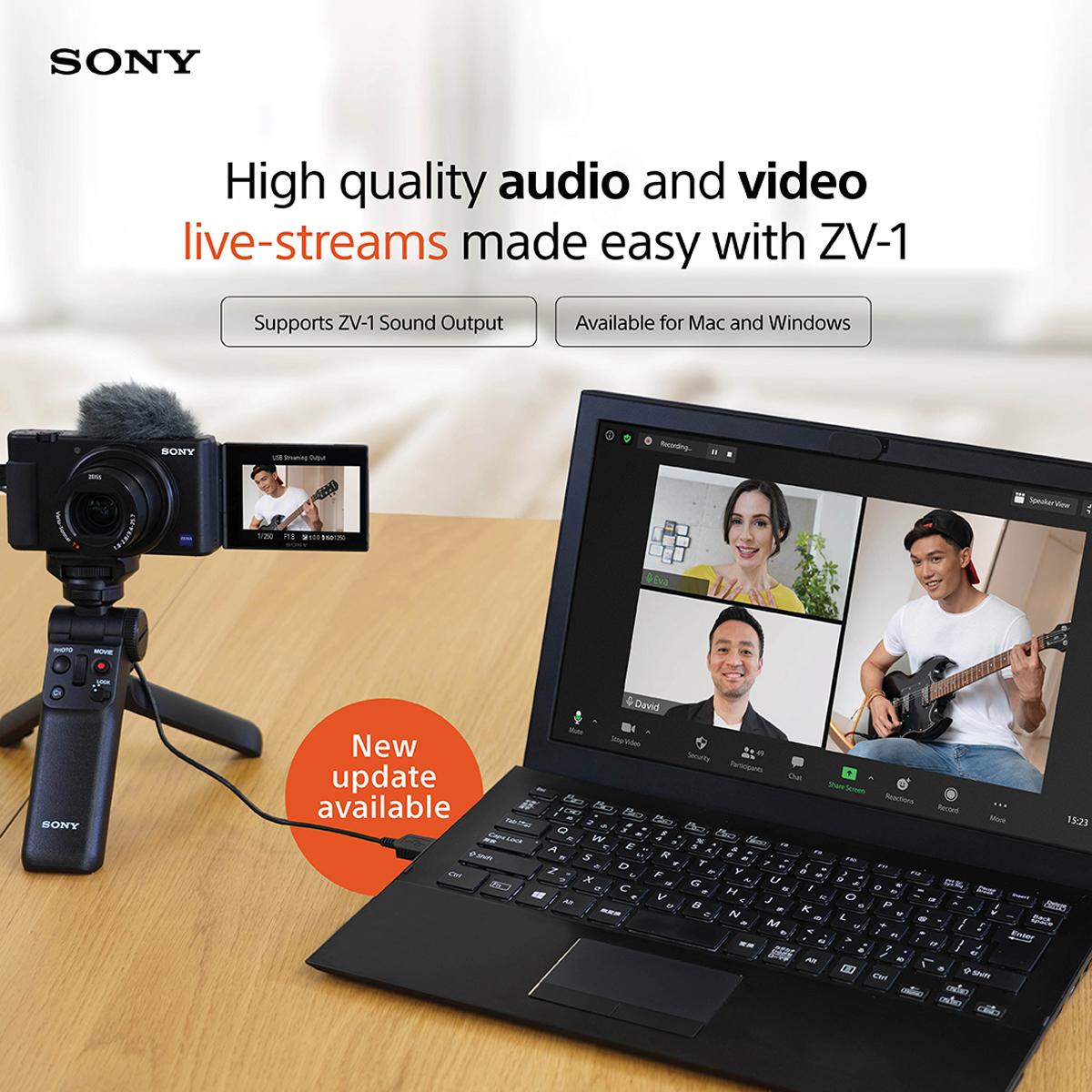 Actualización del firmware de transmisión en vivo de la cámara web Sony ZV-1