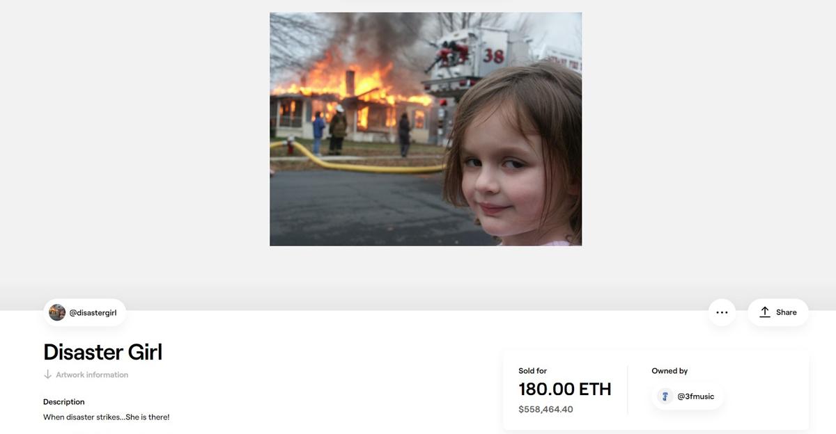 Desastre Girl Meme Vendido US $ 500,000 NFT