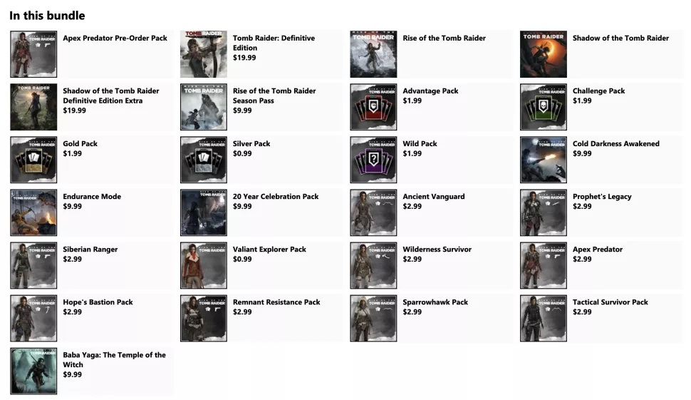 Tomb Raider Definitive Survivor Trilogy Lista de tiendas de Microsoft
