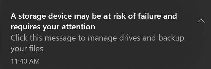 Advertencia inminente de falla de SSD NVMe