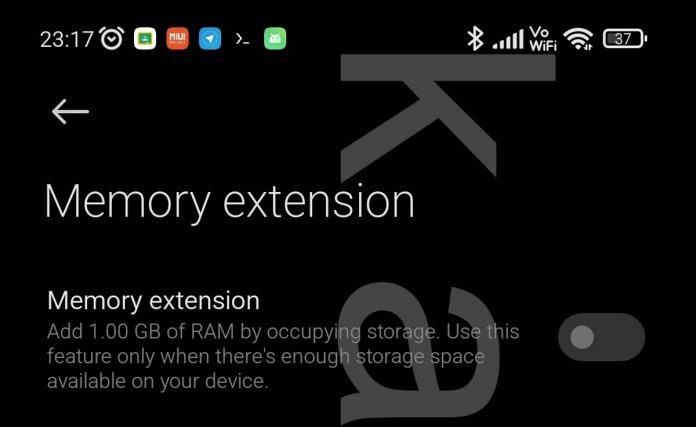 Xiaomi extended RAM feature MIUI
