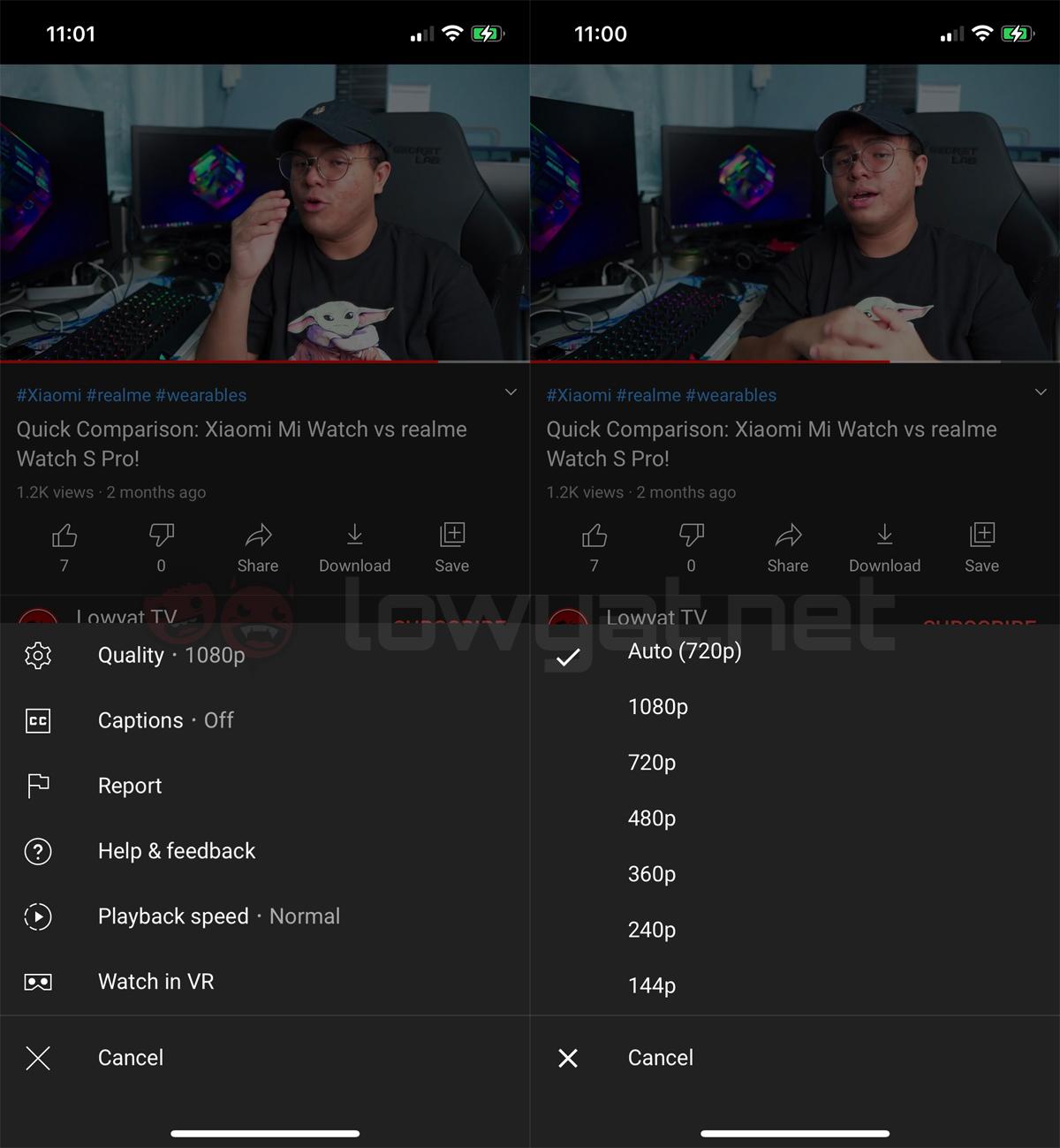 Opciones de calidad de video de YouTube amigables con los datos