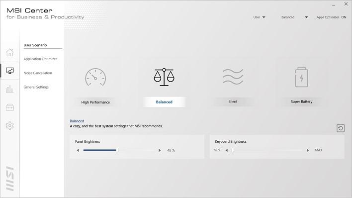 perfiles de escenario de usuario de msi center